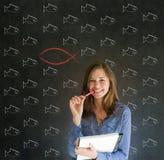 Bedrijfs vrouw, student of leraar die Jesus, God of Christendom overwegen Royalty-vrije Stock Foto