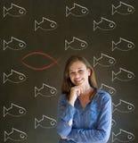 Bedrijfs vrouw, student of leraar die Jesus, God of Christendom overwegen Stock Afbeelding