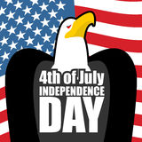 Onafhankelijkheidsdag in Amerika De vlag van de adelaar en van de V De patriottische vakantie van de staat Stock Afbeeldingen