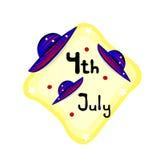Onafhankelijkheidsdag 4 Juli-embleem met hoeden Royalty-vrije Stock Afbeelding