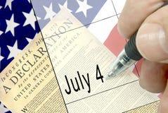Onafhankelijkheidsdag, Kalenderaantekening Stock Foto's