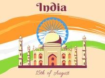 Onafhankelijkheidsdag van de Affiche van India met Taj Mahal royalty-vrije illustratie