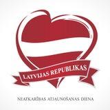Onafhankelijkheidsdag van de Republiek van Letland, hart en Letse teksten Royalty-vrije Stock Afbeeldingen