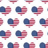 Onafhankelijkheidsdag van het naadloze patroon van Amerika 4 juli een eindeloze achtergrond De nationale feestdag die van de V.S. Royalty-vrije Stock Afbeeldingen