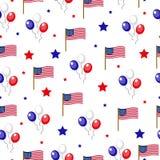 Onafhankelijkheidsdag van het naadloze patroon van Amerika 4 juli een eindeloze achtergrond De nationale feestdag die van de V.S. Stock Fotografie