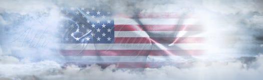 Onafhankelijkheidsdag, vierde van Juli Amerikaanse vlag in de hemel royalty-vrije illustratie