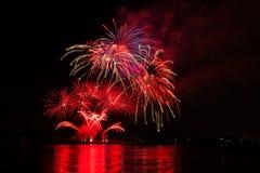 Onafhankelijkheidsdag, vierde van Juli-vuurwerkvertoning Royalty-vrije Stock Foto's