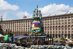 Onafhankelijkheidsvierkant in Kiev tijdens een demonstratie tegen de dictatuur in de Oekraïne Stock Fotografie