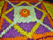 Onam花装饰在喀拉拉 免版税库存照片