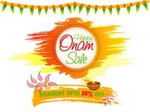 Onam销售海报、横幅或者飞行物设计 库存照片