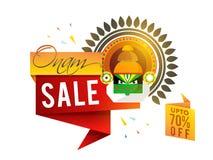 Onam销售纸标记或横幅设计 库存图片