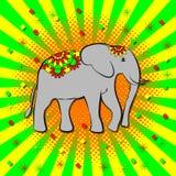 Onam. Hindu festival. Kerala in India. 4 September. Elephant, beautiful flower blanket. Style pop art, rays from the center. Onam. Concept Hindu festival. Kerala Royalty Free Stock Photography