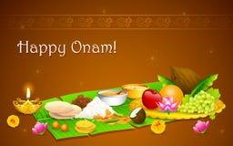 Onam Feast. Illustration of Onam feast on banana leaf Royalty Free Stock Image