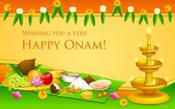 Onam Feast. Illustration of Onam feast on banana leaf Stock Photography