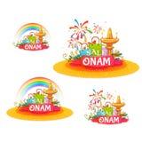 Onam-Feiertags-Verkaufsfahne eingestellt mit Band Auch im corel abgehobenen Betrag Stockbilder