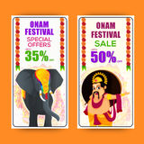 Onam Festival Sale website banner set. Onam Festival Sale with Special Offers, Creative website banner set with illustration of Decorated Elephant and King Stock Images