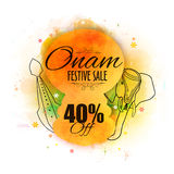 Onam Festive Sale Poster, Banner or Flyer design. Onam Festive Sale with 40% Off, Creative illustration of Kathakali Dancer Face, Snake Boat and An Elephant Stock Image