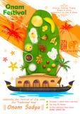Onam festmåltid på bananbladet stock illustrationer