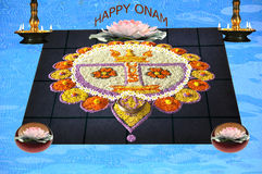 Onam flower decoration Royalty Free Stock Images
