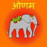 Onam. Hindu festival. Kerala in India. 4 September. Elephant, beautiful flower blanket. Text in Hindi - Onam. Onam. Concept Hindu festival. Kerala in India. 4 Stock Photography