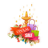Onam holiday sale banner with ribbon. Vector illustration.  Royalty Free Stock Photo