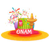 Onam holiday sale banner with ribbon. Vector illustration.  Royalty Free Stock Images
