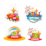 Onam holiday sale banner set with ribbon. Vector illustration.  Stock Image
