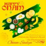 Onam Sadya feast on banana leaf Royalty Free Stock Photos