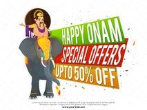 Onam Sale affisch-, baner- eller reklambladdesign Arkivfoto
