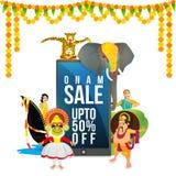 Onam Sale affisch-, baner- eller reklambladdesign Fotografering för Bildbyråer