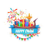 Onam sale banner with ribbon. Vector illustration.  Royalty Free Stock Images