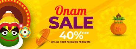Onam Sale header or banner design with 40% discount offer, Katha. Kali Dancer face, Worship Pot and golden umbrella on yellow abstract background royalty free illustration