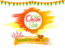 Onam Sale Poster, Banner or Flyer design. Happy Onam Sale with Discount Upto 30% Off, Creative Poster, Banner or Flyer design for South Indian Festival Stock Photo