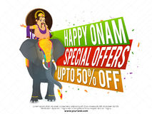 Onam Sale Poster, Banner or Flyer design. Happy Onam Sale and Special Offers with Upto 50% Off, Creative colorful paper banners and illustration of King Stock Photo
