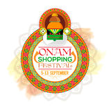 Onam Shopping Festival Poster, Banner or Flyer. Onam Shopping Festival Poster, Banner or Flyer design, Creative illustration of beautiful floral rangoli with Royalty Free Stock Images