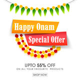 Onam Special Offers Sale Poster, Banner design. Happy Onam Special Offer Sale with upto 55% Off, Creative Poster, Banner or Flyer design for South Indian Stock Photo