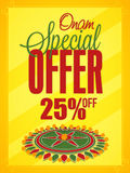 Onam Special Offers Sale Poster, Banner design. Onam Special Offer with 25% Off, Creative Poster, Banner or Flyer design decorated with beautiful rangoli on Royalty Free Stock Photo