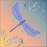 Onbackground luminoso della libellula di fantasia con i riccioli d'annata immagini stock libere da diritti