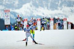 Onbekende concurrent in IBU Youth& Junior World Championships Biathlon royalty-vrije stock foto