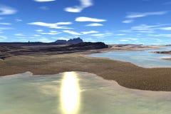 Onbekende planeet Bergen Stock Fotografie