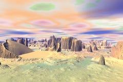 Onbekende planeet Bergen Royalty-vrije Stock Afbeeldingen