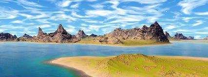 Onbekende planeet Bergen Panorama Royalty-vrije Stock Afbeeldingen