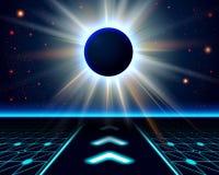 Onbekende planeetverduistering. Abstracte kosmische achtergrond. Stock Afbeeldingen