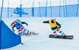 Onbekende snowboarders Royalty-vrije Stock Foto