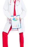 Onbekende vrouwelijke dokter die bedrijfsgrafiek tonen Royalty-vrije Stock Afbeelding