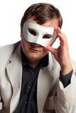 Onbekende zakenman die Carnaval masker draagt Stock Afbeeldingen