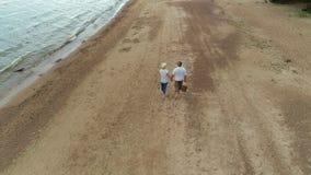 Onbezorgde rijpe Kaukasische familie die van weekend op kust genieten stock footage