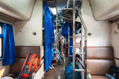 Onboard the Bangkok to Chiang Mai overnight sleeper train Stock Photo