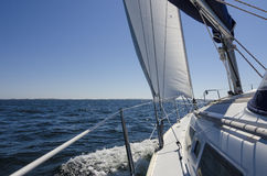 Onboard sailing yacht. Yacht sailing on the Baltic sea outside the Swedish coastline Stock Photos