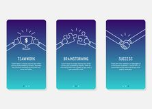Onboarding在企业成功概念的屏幕设计 现代最小和被简化的例证,流动apps的模板 库存图片